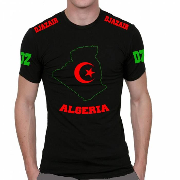 t shirt maillot de football algerie algeria one two three viva l 39 algerie al djazair represente. Black Bedroom Furniture Sets. Home Design Ideas