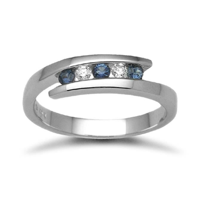 Jewelco London Or Blanc 18k Rond Brillant Bleu Saphir et Diamant Crossover Éternité Bague