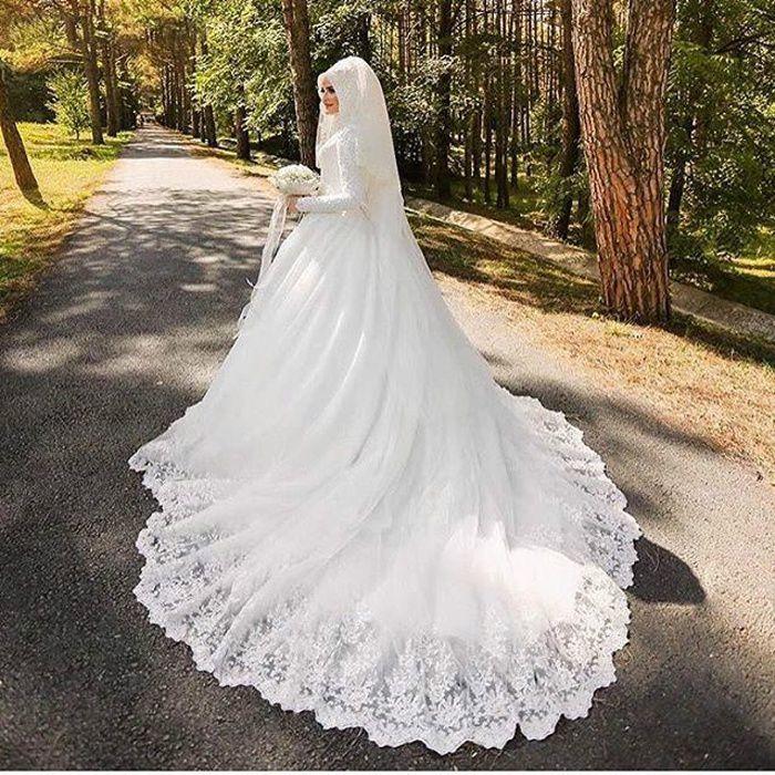 Robe De Mariage Musulman Luxe Belle Avec Voile Blanc Achat Vente Robe De Mariee Cdiscount