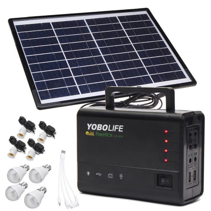 KIT PHOTOVOLTAIQUE TEMPSA Kit 18V 10W Panneau Solaire + 4 LED Ampoule