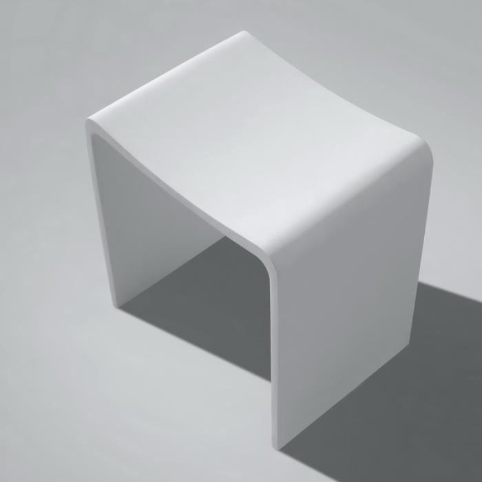 Tabouret de Salle de Bain Blanc Mat, 40x42 cm,Composite ...