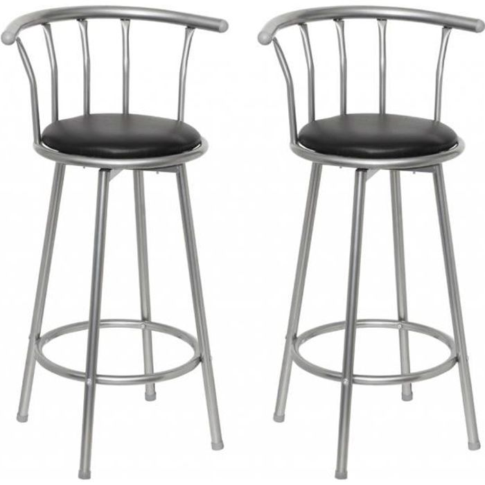 tabouret de bar louisiane lot de 2 achat vente tabouret de bar simili m tal acier. Black Bedroom Furniture Sets. Home Design Ideas