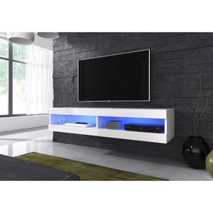meuble tv suspendue blanc laque achat vente pas cher. Black Bedroom Furniture Sets. Home Design Ideas