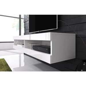 meuble tele blanc laque suspendu achat vente pas cher. Black Bedroom Furniture Sets. Home Design Ideas