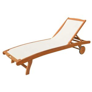 chaise longue transat bain de soleil en bois achat vente pas cher. Black Bedroom Furniture Sets. Home Design Ideas