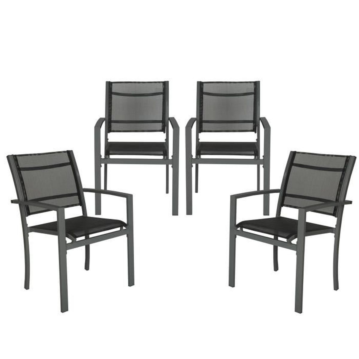 4 chaises de jardin de camping ou de salon en m tal et. Black Bedroom Furniture Sets. Home Design Ideas