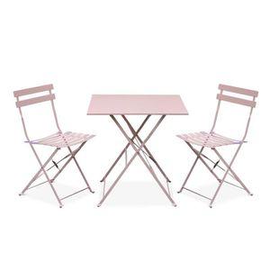 SALON DE JARDIN  Salon de jardin bistrot pliable - Emilia carré ros