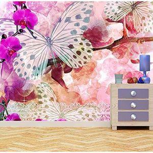 PAPIER PEINT papillons et fleurs d'orchidée papier peint  papie