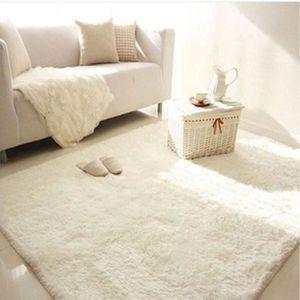TAPIS Trendy Tapis de salon Shaggy Blanc 160x230 cm Blan
