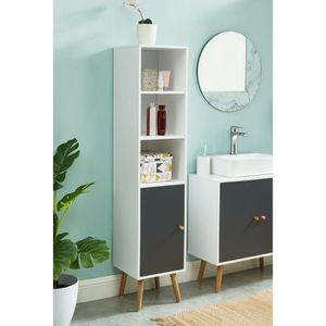 COLONNE - ARMOIRE SDB MAX Colonne de rangement salle de bain blanc et gr