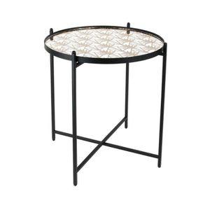 BOUT DE CANAPÉ Bout de canapé miroir décoré pied noir - L 43 x P