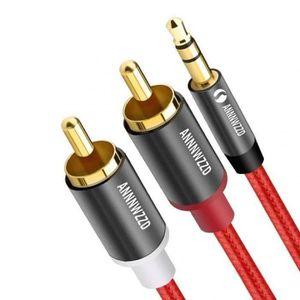 CÂBLE TV - VIDÉO - SON Version Rouge - 3M - Rca Audio Câble 2rca Mâle À 3