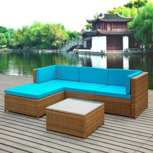 SALON DE JARDIN  iKayaa Set Table + Canapé + 9 Coussins Bleu Meuble