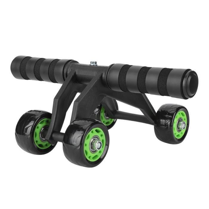Appareil abdo Rouleau de roue Ab Système d'entraînement abdominal Exerciseur Genou Protection avec genouillère + corde élastique 4