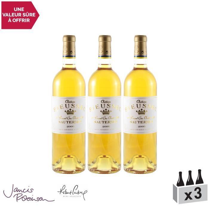 Château Rieussec Blanc 2009 - Lot de 3x75cl - Appellation AOC Sauternes - Vin Doux Blanc de Bordeaux - 18,5-20 Jancis Robinson -