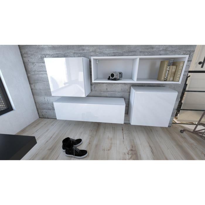 Ensemble de 4 meubles suspendus en Blanc