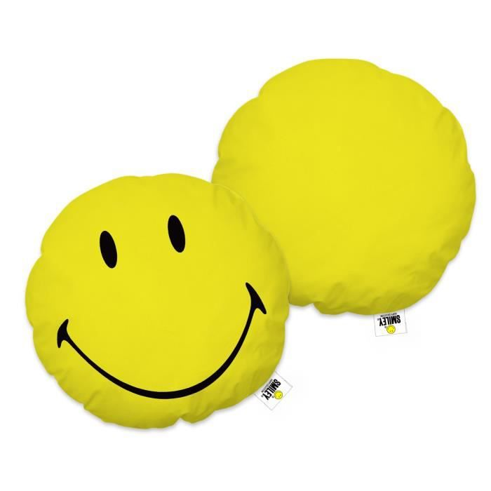 SMILEY HAPPY Coussin rond jaune 36x36cm - Composition : 100 % polyesterCOUSSIN