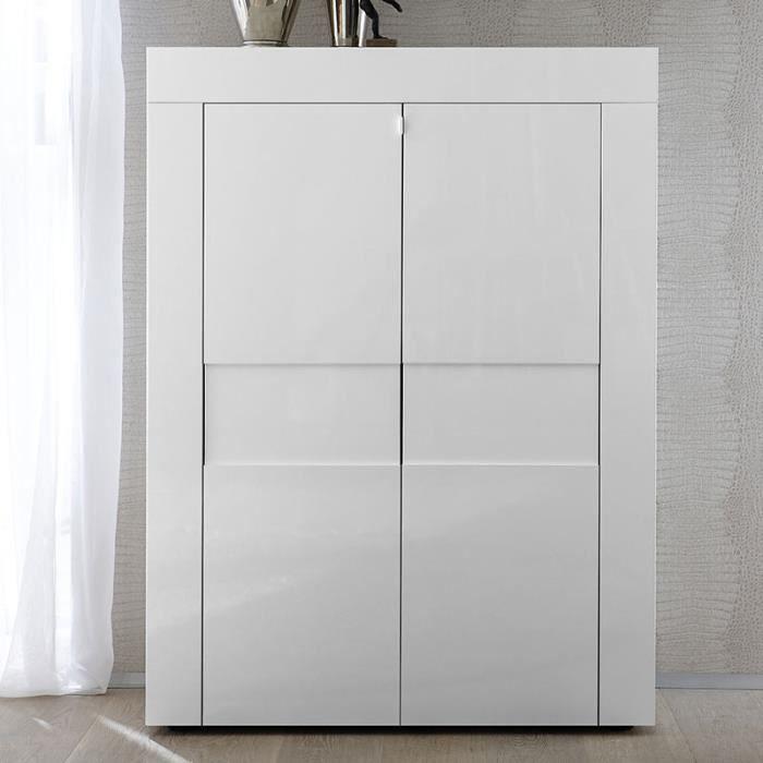 Buffet haut design blanc laqué TUNIS