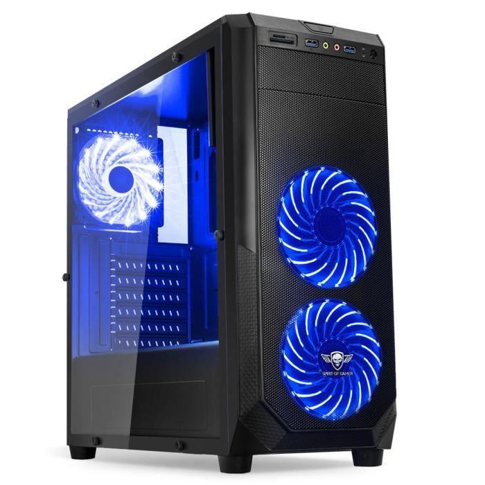 Spirit of Gamer Boîtier PC Rogue One - Noir - Moyen Tour - Fenêtre - Rétroéclairé Bleu