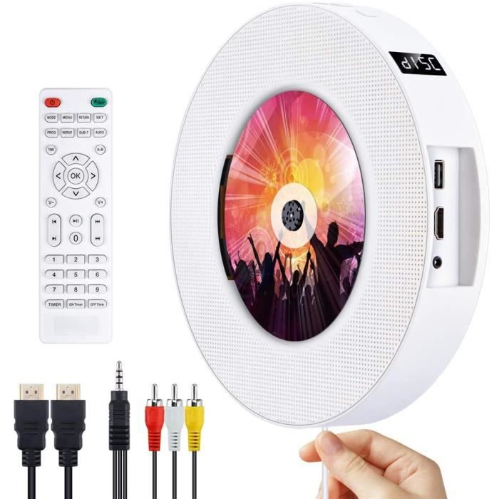 Lecteur de DVD Portable Bluetooth Lecteur de Musique CD/DVD à Montage Mural Gueray avec Full HD 1080p et télécommande pour Enfants É