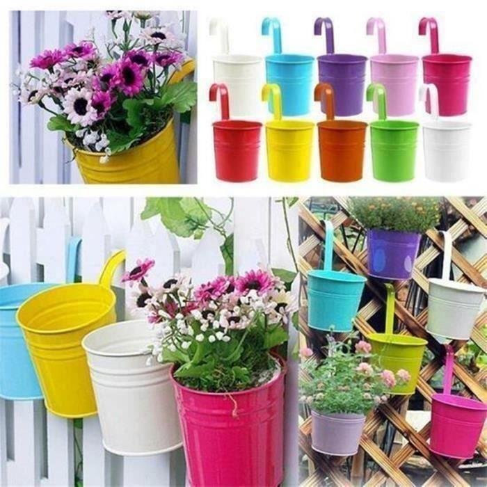 LOT 10pcs Pots de Fleurs Exterieur à Accrocher Colorés Amovible Décoration Jardin Maison Balcon Cadeau Noël Anniversaire Fête (Cou