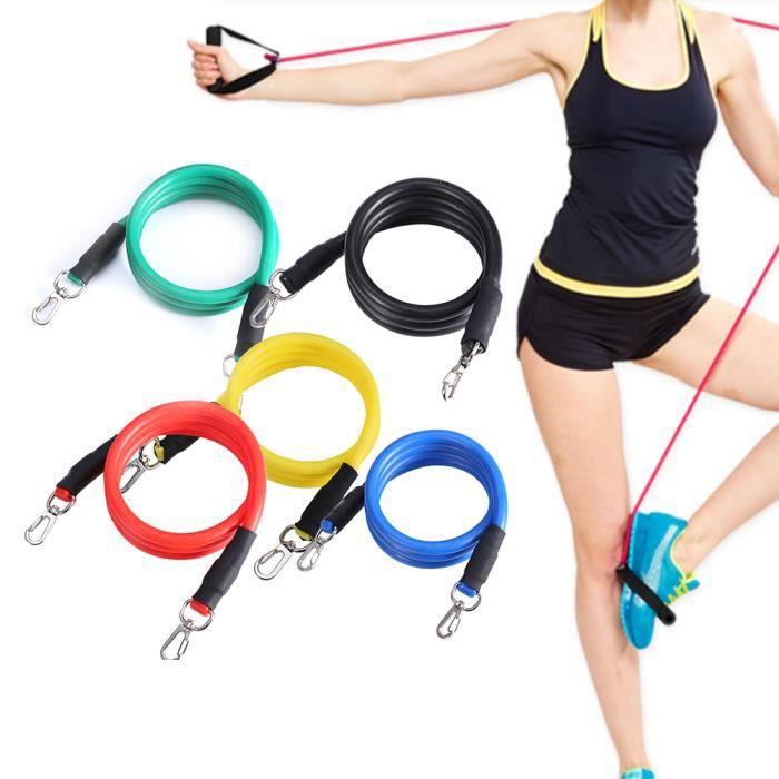 Bande de Résistance de Musculation Exercice Élastique Tube pour Fitness d'Exercice Lot de 11pcs