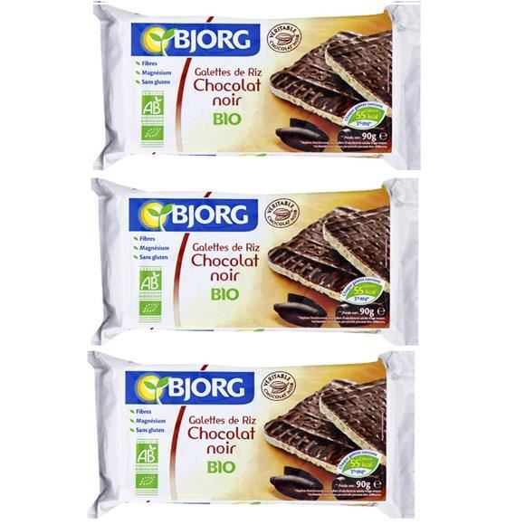 [LOT DE 3] Galettes riz chocolat noir bio 100 g Bjorg