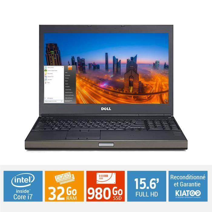 Ordinateur portable 15 POUCES DELL PRÉCISION M4800 core i7 32Go ram 980 Go SSD disque dur FULL HD