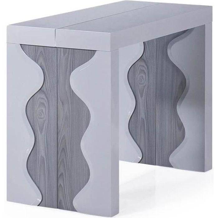 Table Console Ariel Laquée Gris & Chêne Gris
