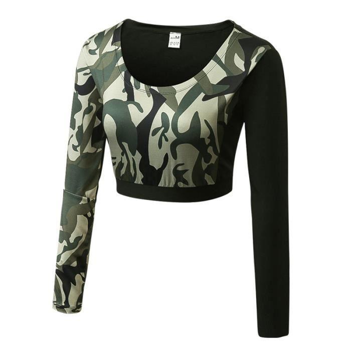 Maillot Courte T-Shirt Compression Manches Longue Femme de Fitness Femme Camouflage Collant