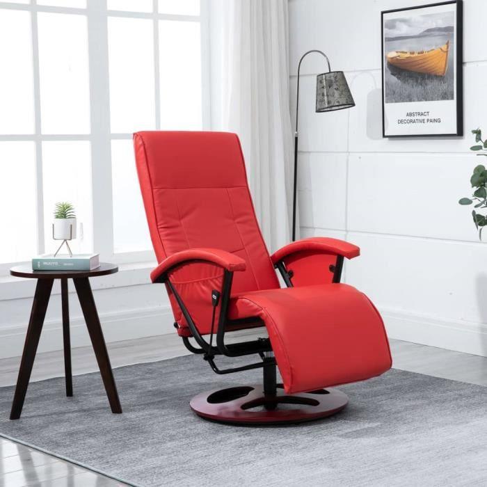 Fauteuil relax style contemporain confort Fauteuil TV pivotant Rouge Similicuir
