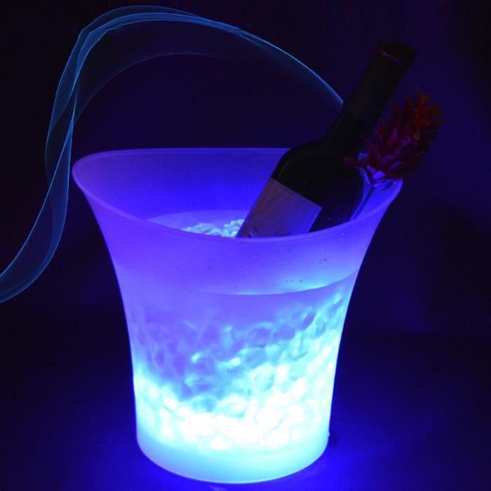 5L Seau à glace coloré à LED avec changement automatique de couleur pour champagne vin boisson bière glace bar KTV pub