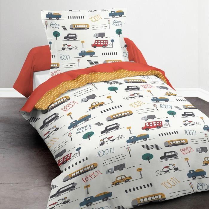 TODAY Parure de lit Enfant Kids First 1.4 - 1 personne - Housse de couette 140 x 200 et 1 taie d'oreiller 63 x 63 cm - Imprimé blanc