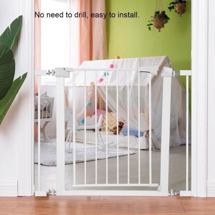 Barriere de Securite porte et escalier 75-89cm blanc pour enfants et animaux SIE217