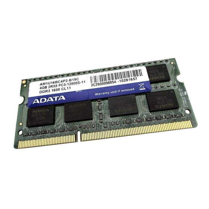 adata 4go ram pc portable sodimm adata am1u16bc4p2 b19c quelcomposant. Black Bedroom Furniture Sets. Home Design Ideas