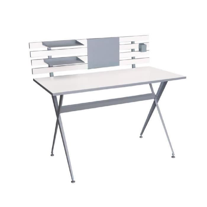 archi bureau contemporain en m tal blanc et gris l 120 cm achat vente bureau archi bureau. Black Bedroom Furniture Sets. Home Design Ideas