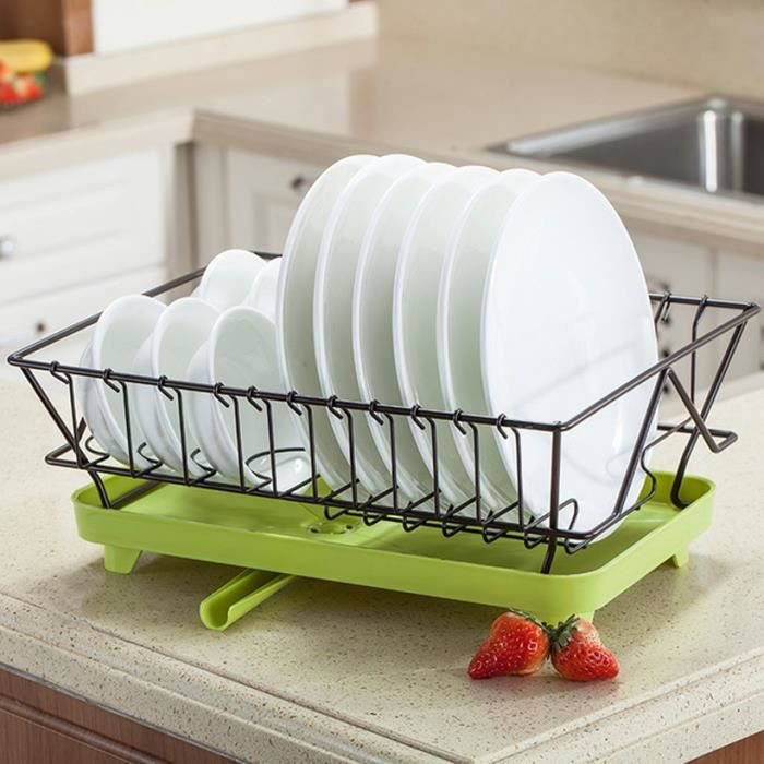 mDesign égouttoir vaisselle pratique avec range-couverts et écoulement pour