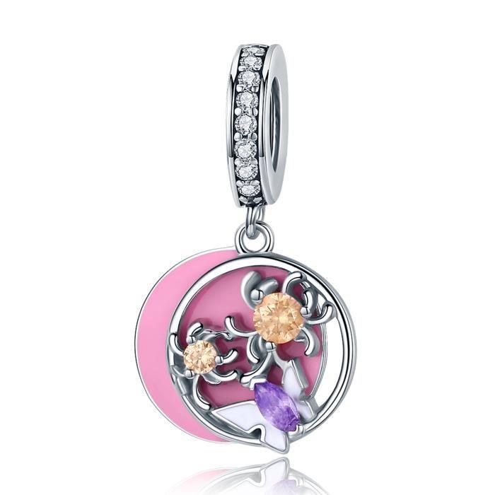 Cabochon Verre Collier Silver Charm pendentif Bijoux ( rose papillon )