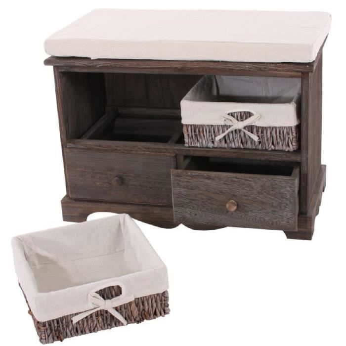 banc commode avec panier 42x62x33cm vintage chic brun achat vente commode de chambre banc. Black Bedroom Furniture Sets. Home Design Ideas