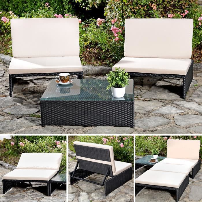 salon de jardin aspect rotin noir 2 fauteuils achat vente salon de jardin salon de jardin. Black Bedroom Furniture Sets. Home Design Ideas