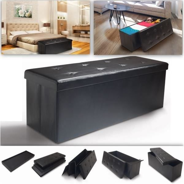 banc coffre rangement pliable noir gm 100x38x38 cm achat vente banc coffre rangement pliab. Black Bedroom Furniture Sets. Home Design Ideas