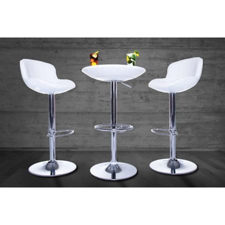 Table de bar ronde blanc laqu select achat vente - Table de bar blanc laque ...