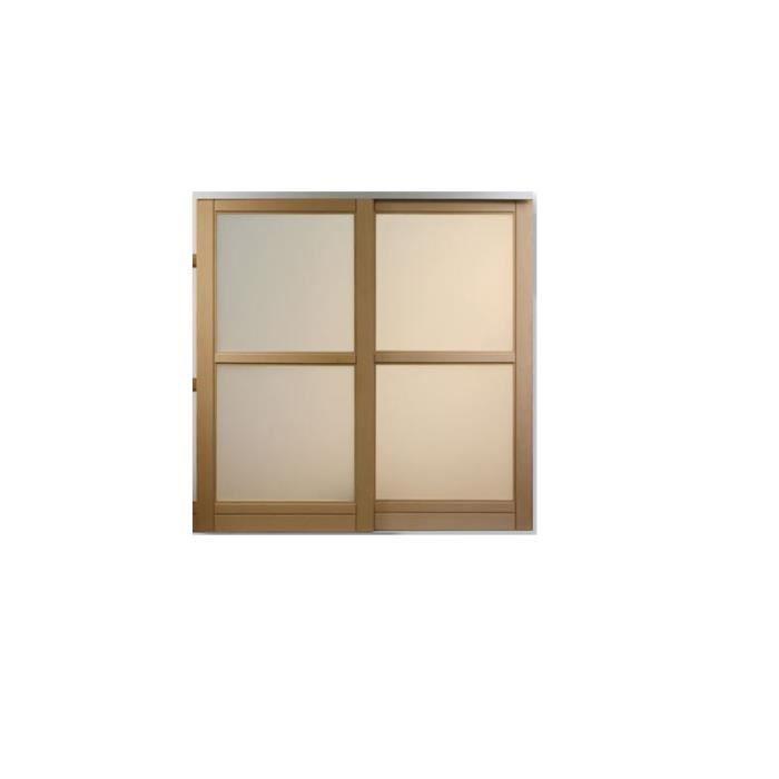 Porte de placard coulissant SOUS PENTE / EN HETRE 2 vantaux - Hauteur 120  cm x Largeur 120 cm