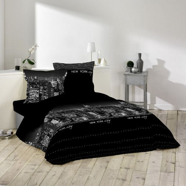 housse couette 220x240 2 taies ny noir achat vente parure de lit cdiscount. Black Bedroom Furniture Sets. Home Design Ideas