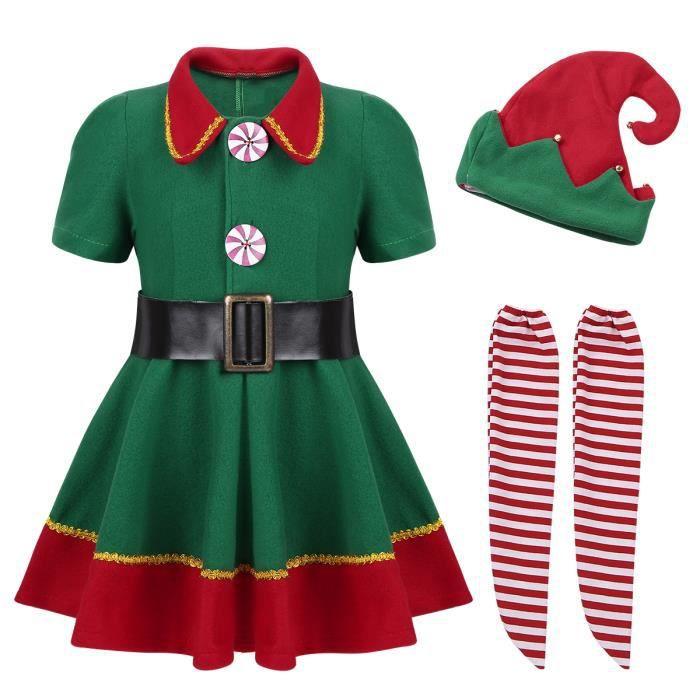 Enfants Filles Garçons Noël Lutin Pyjama Festif Ensemble Costume Âge 2-13 An