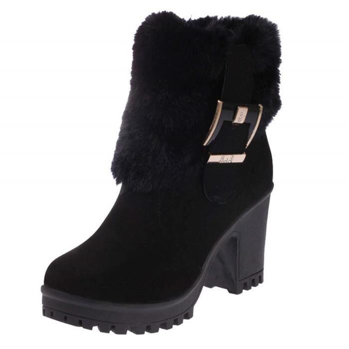 Bout RockChaussure Boucle Cher Chaud High6 Bottes Talon Rond Bottine Pas Ankle Polaire Femmes Heel À Boots 5cm Femme Doublée TlcFuK1J3