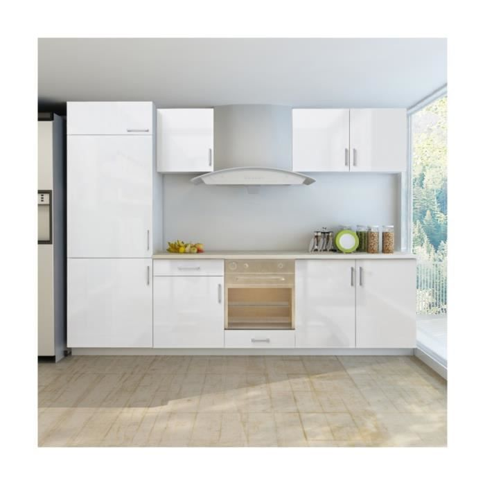 superbe armoire de cuisine blanc brillant 7 pcs pour frigo int gr achat vente buffet de. Black Bedroom Furniture Sets. Home Design Ideas