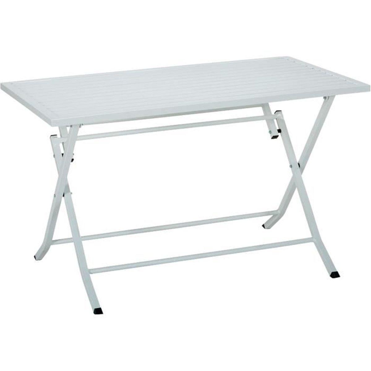 Blanco Jardin Table de jardin pliante blanche en aluminium ...