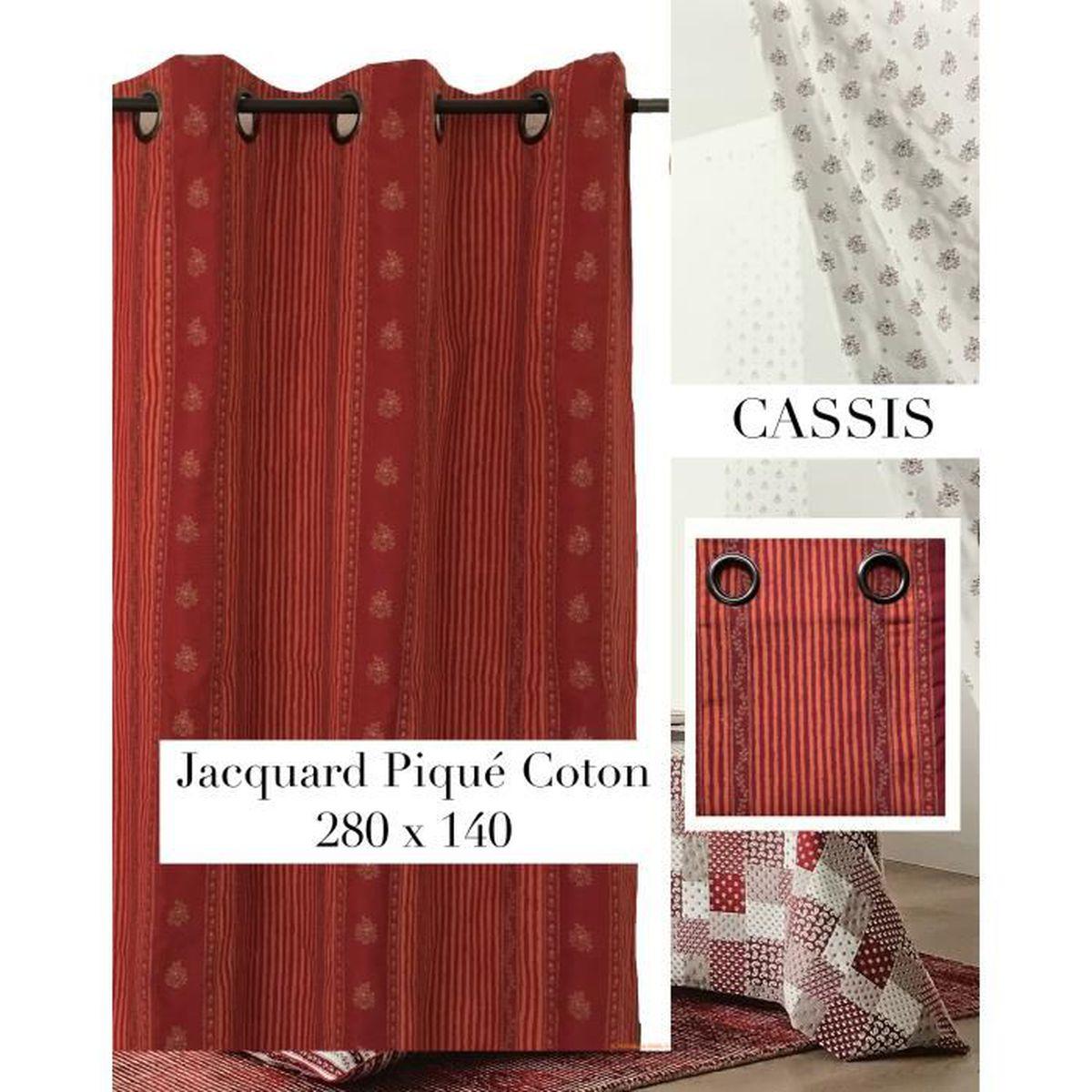 Magasin De Tissus Salon De Provence double rideau jacquard piqué coton rouge/orange , style provence et  montagne ,grande hauteur 140 x 280cm (prix boutique 75e)
