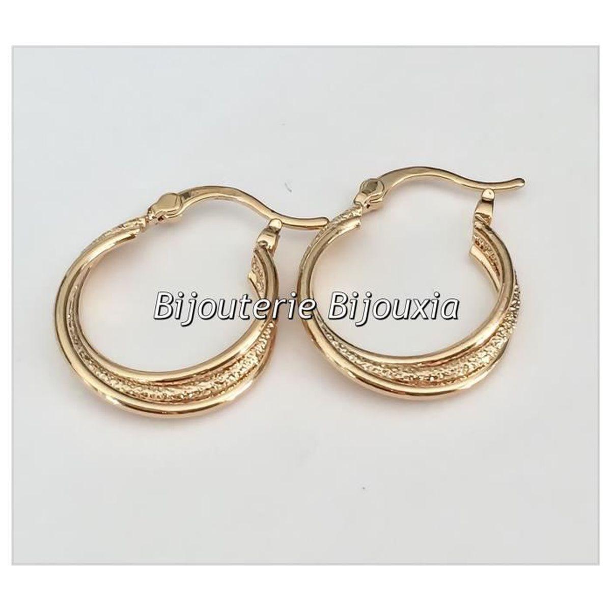 Boucles D/'oreilles Créoles 5cm Plaqué Or 18CARATS  3 Microns Bijoux Femme